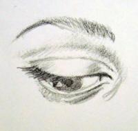 occhio semichiuso frontale
