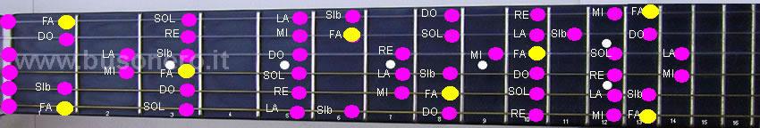 Configurazione generale della scala di Fa maggiore vista nella tastiera della chitarra