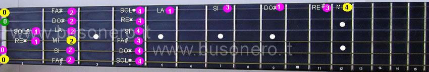 La scala di Mi maggiore eseguita al capotasto della chitarra