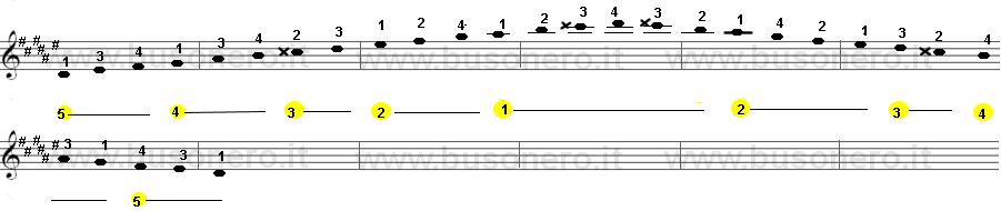 Scala di Re diesis minore armonica sulla tastiera della chitarra estesa su due ottave