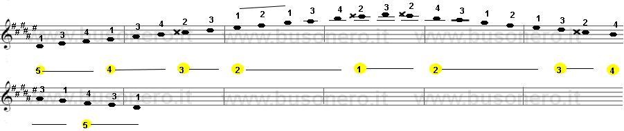 Scala di Re diesis minore armonica sulla tastiera della chitarra estesa su due ottave.