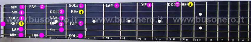 Scala di Re diesis minore ascendente eseguita al capotasto della chitarra
