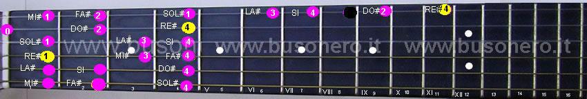 Scala di Re diesis minore discendente eseguita al capotasto della chitarra.