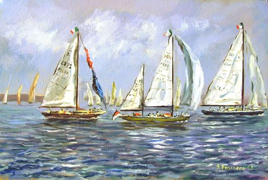 Barche da regata in esercitazione