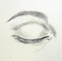 occhio chiuso frontale