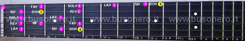 Scala di Do diesis minore ascendente eseguita al capotasto della chitarra.