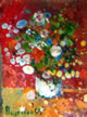 Fiori, olio su plastica, dimensioni 6,8 x 8,7 millimetri - Flowers, oil, size 6,8 x 8,7 millimeters