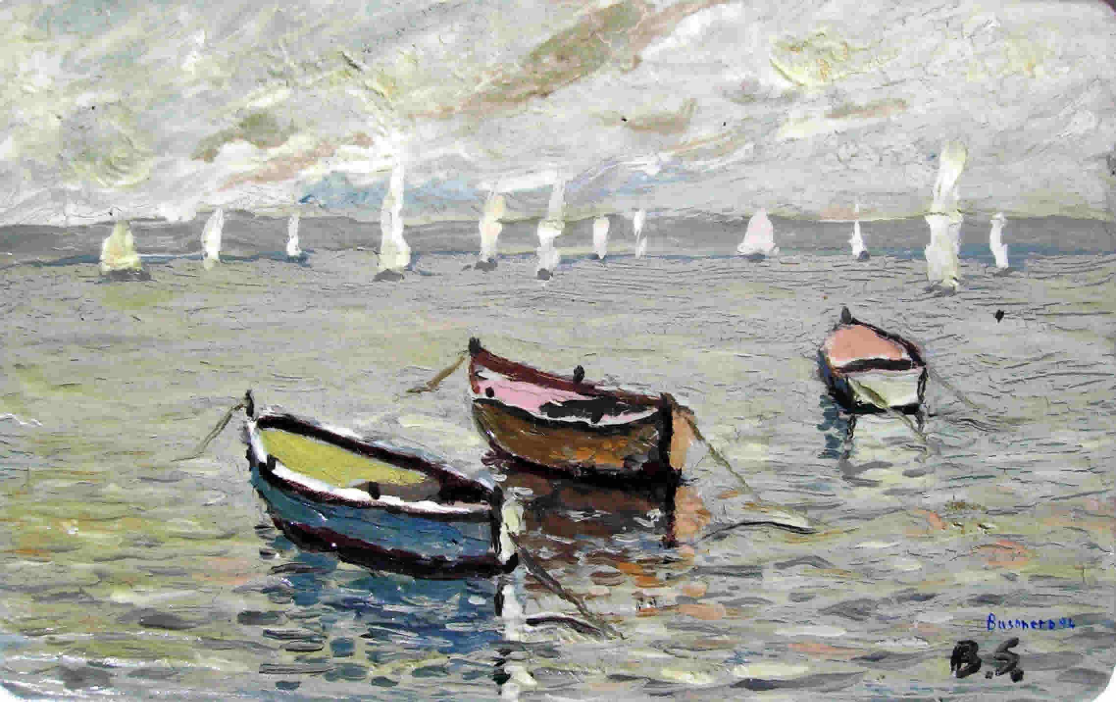 Colori e contrasti nei quadri di Busonero: Barche,olio