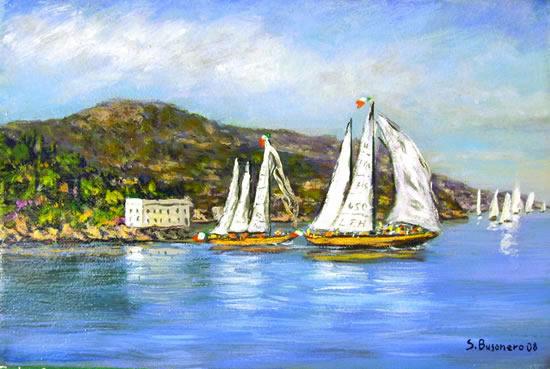 Alcune pitture di Stefano Busonero - Paesaggio marino: barche a vela nel promontorio dell'Argentario