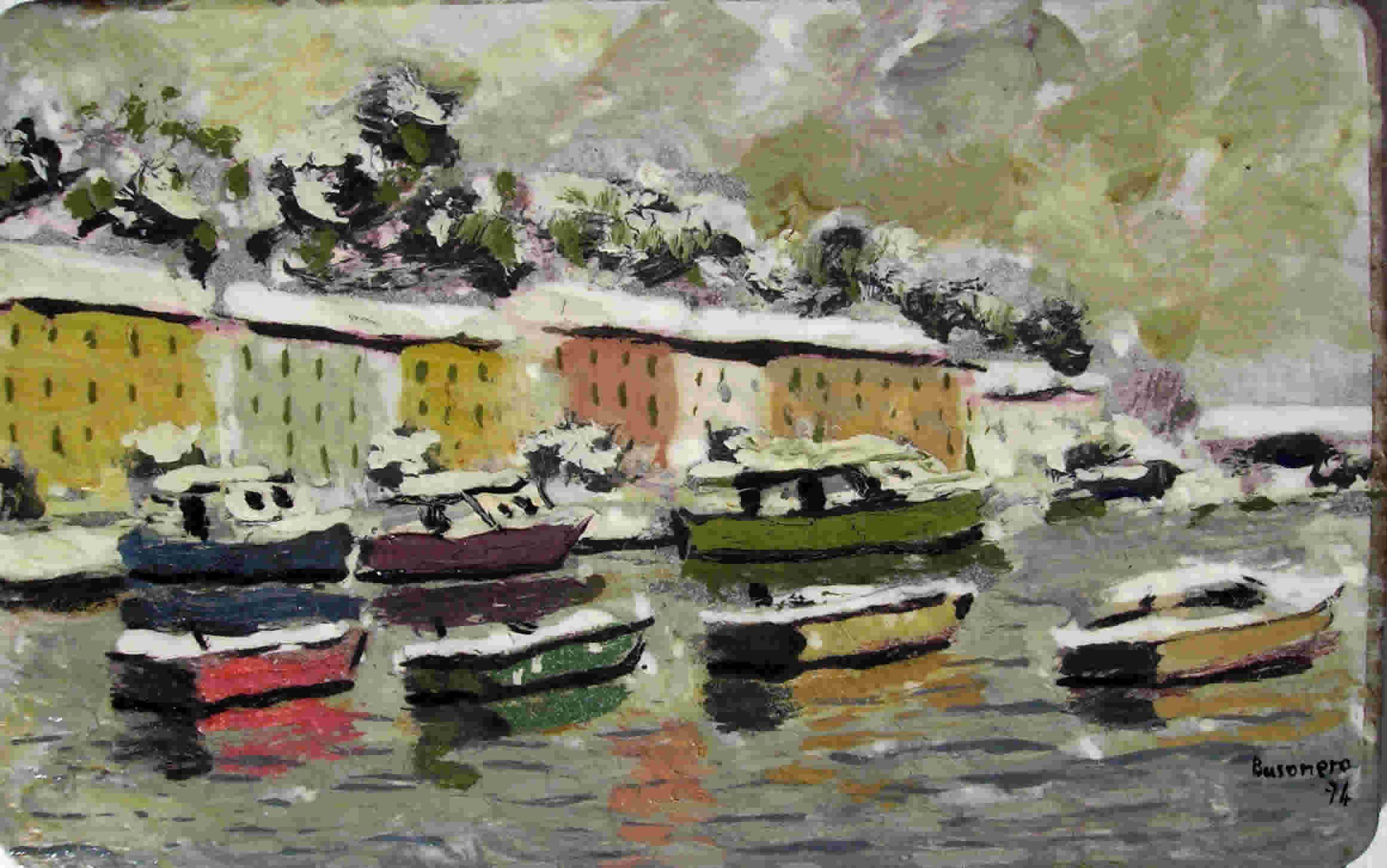 barche con paesaggio innevato