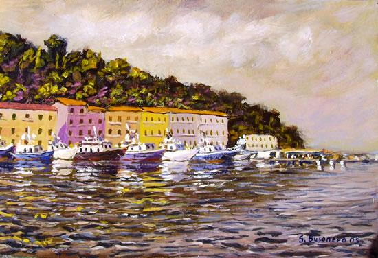 Pittura del mare di Stefano Busonero: Il molo della Pilarella in bruno con le barche