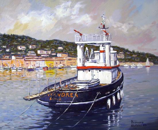 paesaggi con mari e cieli variabili: La barca di Carlo Petersoli (l'attore Bud Spencer )