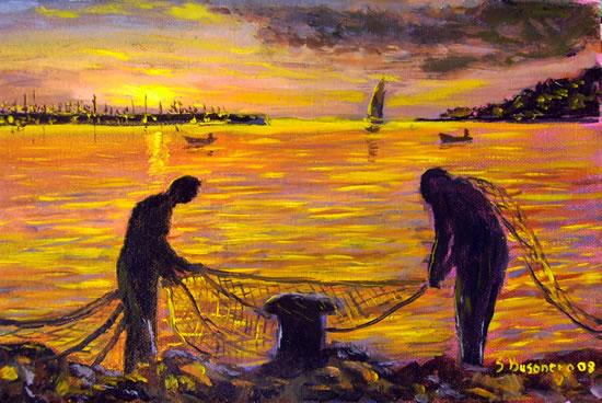 Colori e contrasti nei quadri di Busonero: Alba all'Argentario con pescatori che conciano