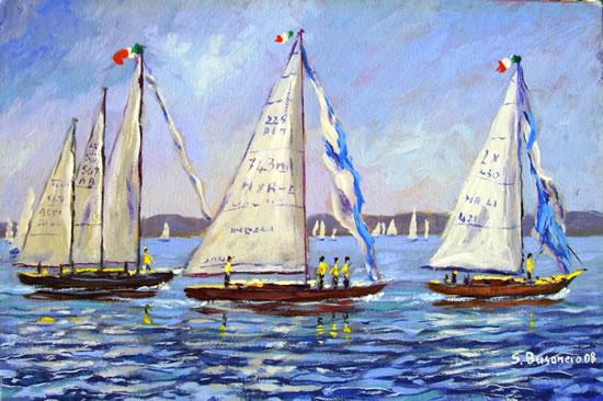 Barche a vela in prova pre-regata