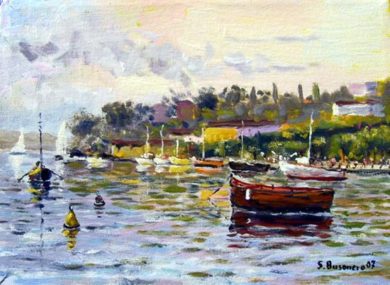 Calore e colore nei dipinti di Busonero: Marina fantastica