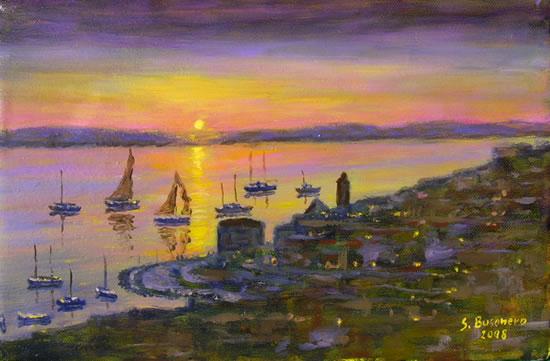 Il filone dei paesaggi marini notturni dipinti da Busonero