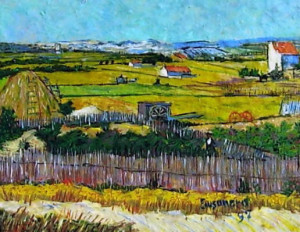 """Busonero Stefano: Riproduzione della """"Piana della Crau"""" di Van Gogh, dimensioni 20 x 26 millimetri"""