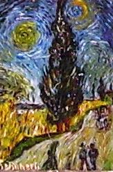 Strada con cipressi di Van Gogh al microscopio