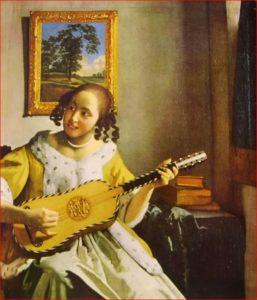 Vermeer: Suonatrice di chitarra - Bambina che suona la chitarra
