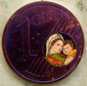 Madonna della seggiola dentro un centesimo