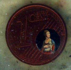 La dama con l'ermellino dipinta in una moneta da un centesimo