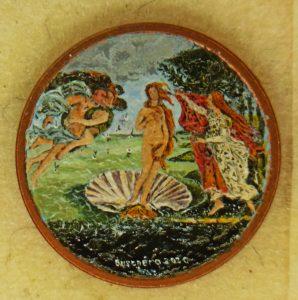Stefano Busonero: Copia della Nascita di Botticelli dipinta dentro la moneta da un centesimo.