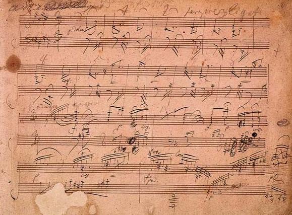 comporre una canzone: uno spartito di Beethoven